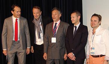 De gauche à droite : Bernard Schweitz, président de la SOP, Gil Tirlet, Philippe Milcent, responsable scientifique de la séance, David Nisand et Stéphane Simon.