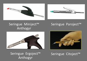 1 : Exemples de seringues manuelles permettant une injection démultipliée et contrôlée des anesthésiques.