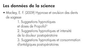 2 : Revue bibliographique concernant les indications essentielles de l'utilisation médicale de l'hypnose.